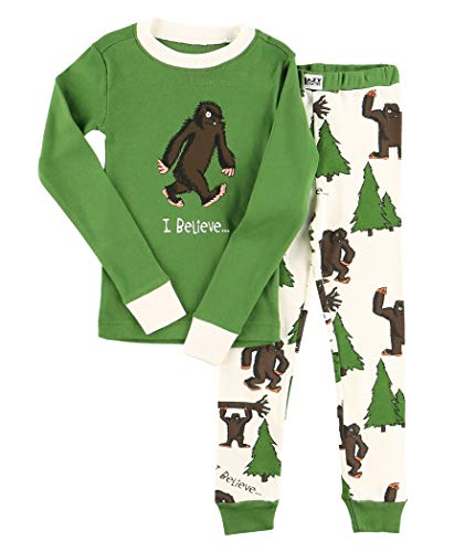 Lazy One Warm Long-Sleeve PJ Sets for Girls and Boys, Funny Animal Kids' Pajama Sets, Cozy, Comfy, Sasquatch (I Believe Bigfoot, 8)