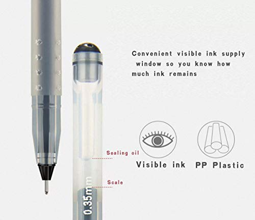 Liquid Ink Rolling Ball Stick Pens Gel Ink Black Pens Ink Fine Point Rollerball pen, School and office Use Smooth Skip-Free Writing,Smooth fine writing pens, Visible Ink Supply (0.5mm) (12-Pack) Photo #2