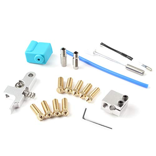 teyiwei 3D Printer Kit Parts Accessories Compatible for Artillery 3D Printer Sidewinder X1,Nozzle Silicone Sleeve Throat Handle Thermistor Heating Pipe Heating Block Kit