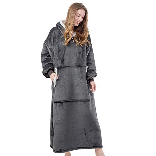 HBlife Oversized Wearable Blanket Hoodie for Adult, Sherpa Blanket Sweatshirt with Sleeves & Giant Pockets Super Warm and Cozy Blanket, Dark Gray