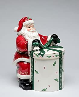 Cosmos Gifts 10455 Emerald Holiday Santa Cookie Jar, 10-Inch