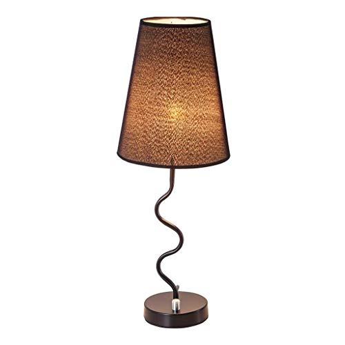Mjd Lamp Tafellamp, bureaulamp, linnen, gesmede lampenkap van smeedijzer, voor slaapkamer, bureaulamp, 19 x 4,7 x 4,7 inch