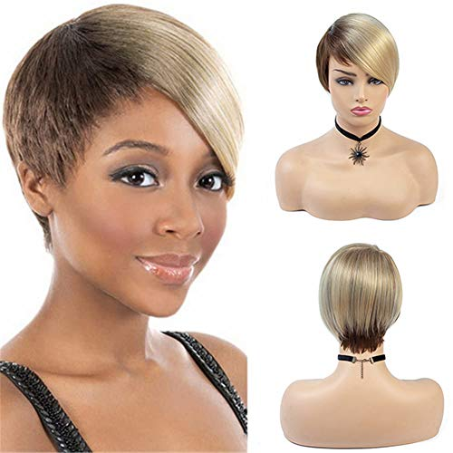 Short Hairstyles Wigs Blonde Mix Brown Wig with Bangs Synthetic Pixie Cut Wigs for Black Women