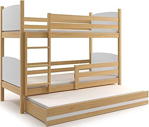 Etagenbett TAMI 3 (für drei Kinder) Farbe  Kiefer 160x80cm, mit Lattenroste und Matratzen (Weiß)