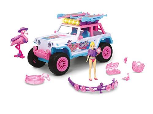 Dickie Toys 203185000 Pink Drivez Jeep, Giocattolo Fuoristrada con Molti Accessori, Auto Giocattolo, Fenicottero, Board, Braccialetto UVM, 22 cm, Luce e Suono, batterie Incluse