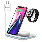 Wireless Charging Station, 3 in 1 Qi Charger Compatible with Apple Watch 2/3/4/5/SE/6 Airpods 2/pro Wireless Charger Compatible with iPhone 12/11/11 Pro/11 Pro Max/XS Max/XS XR Plus