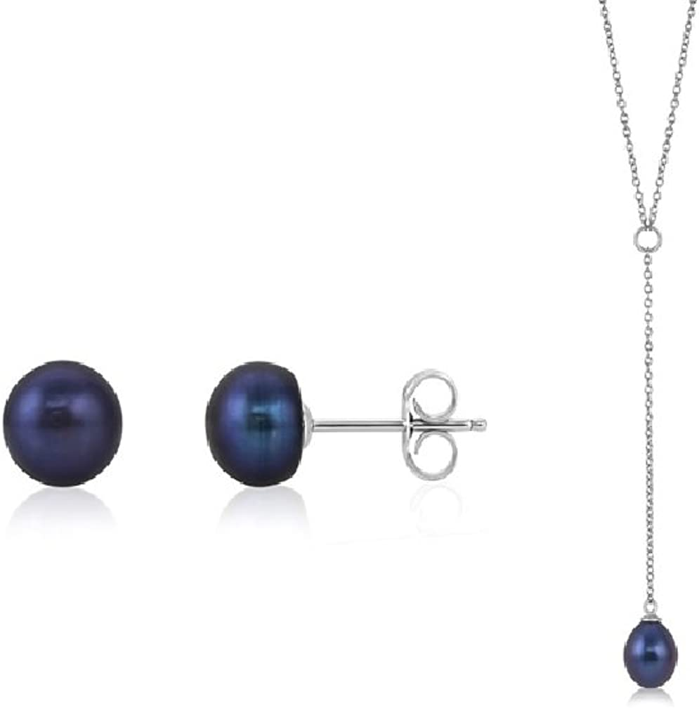 925 Sterling Silver Freshwater Cultured Pearl Earrings and Necklace Gift Set 8.5-9mm