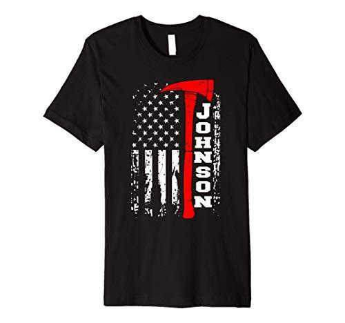 Johnson Firefighter Shirt Surname Johnson Family Gift Premium T-Shirt