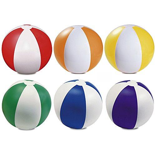 eBuyGB Packung mit 6 aufblasbaren Farben Wasserball Pool-Spiel, gemischte Farben, 22 cm / 9