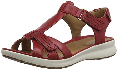 Clarks Un Adorn Vibe, Sandalias de Talón Abierto Mujer, Beige (Red Leather Red Leather), 37 EU
