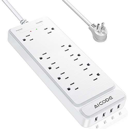 Power Strip, AICODE Surge Protector, Mountable Multiplug with 10 AC Outlets and 4 USB Charging Ports,, 6 ft Long Extension Cord,1875W/15A, 2100 Joules for Smartphone Tablets Home,Office, Hotel- White