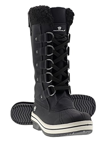 ArcticShield Women's Warm Comfortable Insulated Waterproof Durable Outdoor Winter Snow Boots Size 8.0 Black