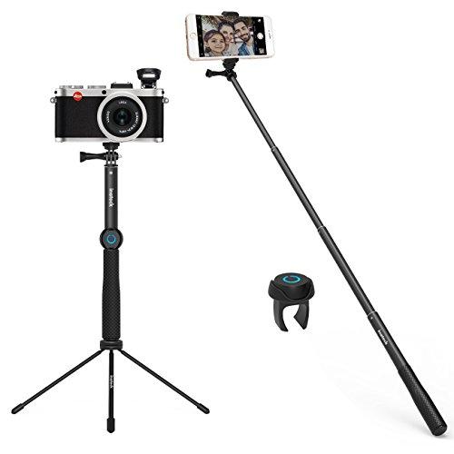 Inateck Bastone da selfie Supporto Cavalletto Treppiede Tripode multifunzione con telecomando wireless per iPhone 6 7 Plus, Samsung S8, Google Pixel, Huawei P10, GoPro, SLR e altri modelli (TS1001)
