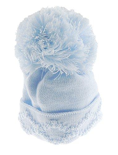 Glamour Girlz Bonnet super doux pour bébé fille garçon chaud hiver grosse torsade tricot, 0–6 mois bleu