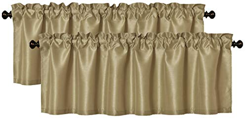 Aiking Home (Pack of 2) Solid Faux Silk Window Valance, 56 by 16 Inches, Brass