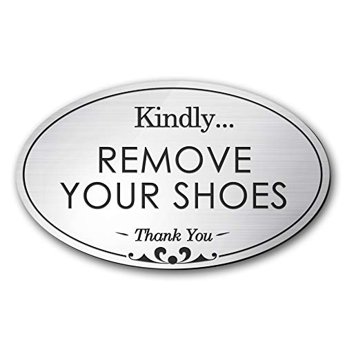 My Sign Center Please Remove Your Shoes Sign, Small Oval Shaped, Laser Engraved, Indoor and Outdoor Use, 3' x 5