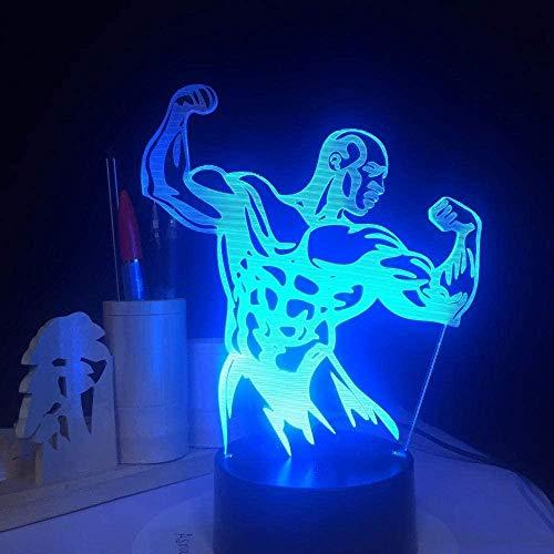 Led 3D Lámpara Decoración LightNovelty 3D Luces de Noche de Construcción del Cuerpo Hombre LED Lámpara de Mesa Colorido Cambio USB Luz de Escritorio para Gimnasio Decoración Regalo de Navidad