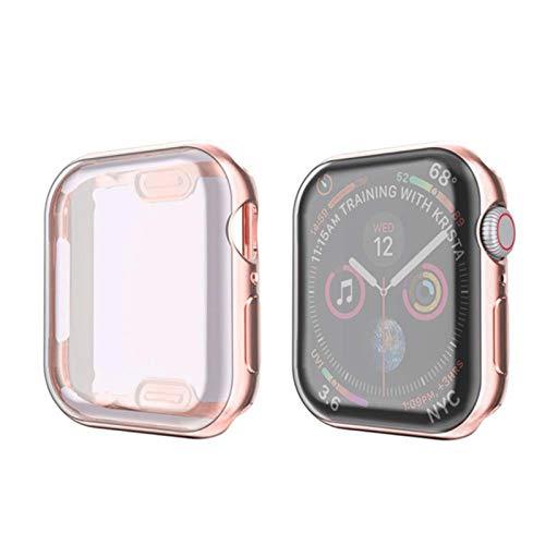 Estuche para Apple Watch Series 6/5/4 / SE 44mm 40mm Funda paraiWatch 3 42mm / 38mm Protector de Pantalla de Parachoques de TPU Suave Accesoriospara Apple Watch-Oro Rosa, 40mm Serie 654 SE
