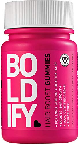 BOLDIFY Biotin Gummies for Healthy Looking Hair Growth (5000 mcg) - Vegan & Sugar Free Gummies, Natural Hair Vitamins for Skin & Nails (Strawberry) - Fast Acting, Lifetime Guarantee - 1 Mo. Supply