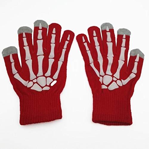 Unisex Winter Warme Handschuhe Lustiger Touchscreen Kapazitive Handschuh Schädel Skelett Vollfinger Ski Radfahren Handschuhe für Jugendliche Kind - Rot