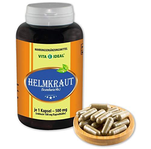 VITAIDEAL ® Helmkraut (Scutellaria Hb, Bärtiges-Helmkraut) 180 Kapseln je 500mg, aus rein natürlichen Kräutern, ohne Zusatzstoffe von NEZ-Diskounter