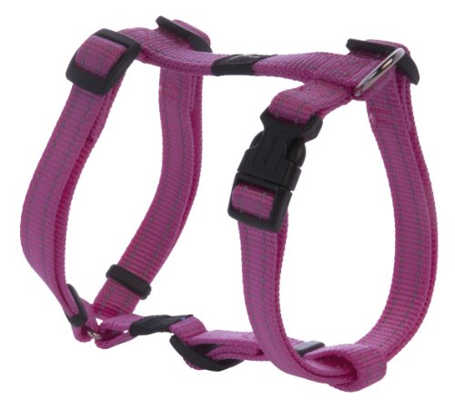 Reflective Adjustable Dog H Harness for Small to Medium Dogs; matching collar and leash available, Pink
