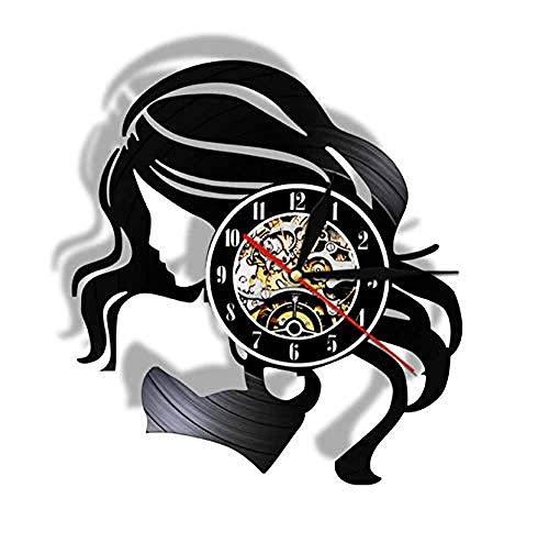 Orologio da parete silenzioso Beauty Lady With Long Hair Vintage Vinyl Record Orologio da parete Salone di bellezza Business Sign Donna Cura dei capelli Barber Orologio da parete Orologio da parete j