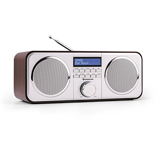 auna Georgia Digitalradio DAB+ / UKW Radiotuner Radiowecker (Radio, 20 Senderspeicher, LCD-Display, Dimmfunktion, Datum- und Uhrzeit-Anzeige, RDS, Snooze und Sleep-Timer, AUX) Dunkelbraun