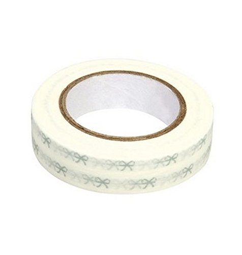 Ray - Washi tape blanc à noeuds argent