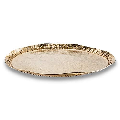Abbott Collection 30-POLKA-1260 - Bandeja plana con borde de puntos, color dorado