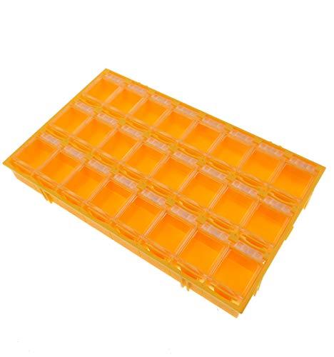 24er SMD Container Mäuseklo aneinandersteckbar Sortiment Box SMT 0603 0805 1206 Farbe Orange