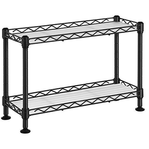SONGMICS Estantería de especias, Estantería de cocina de 2 niveles con panles de PP, Estante de almacenamiento de acero ajustable, para armario, cocina, baño, Negro LGR21BK