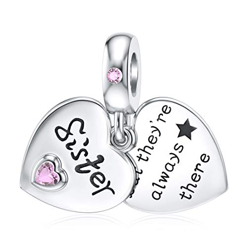 JIAYIQI Sister Charms Fit Charm Pandora Bracelets Necklace 925 Sterling Silver Beads, Double Heart-shape Love Charms for Friendship Women Girls Gift