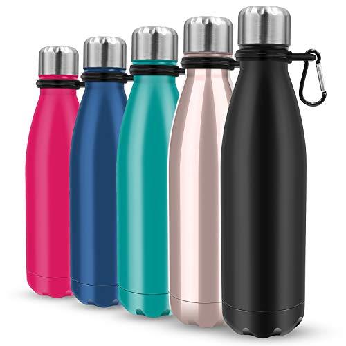 Bottiglia d'acqua isolata, bottiglia d'acqua isolata sotto vuoto e thermos – 500 ml in acciaio inox sottovuoto, design a doppia parete, bocca standard, per sport all'aperto, fitness, campeggio (nero)