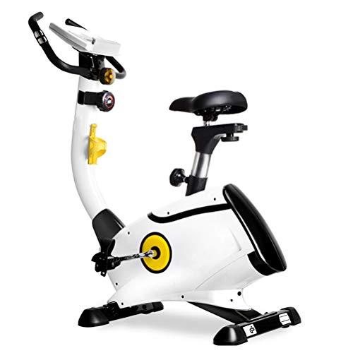 LJJ Magnetrón Bicicleta estática con Acceso telefónico, Ajustable Ciclo de la Bici con el Monitor de Ritmo cardíaco y el Titular de la Copa de Gimnasio en casa, Blanca