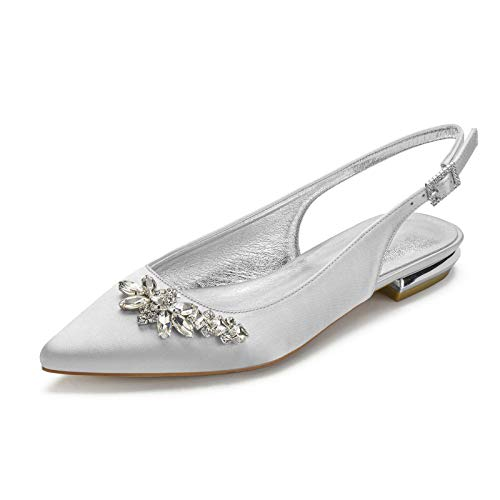 Charmstep Zapatos De Boda Plana Mujer Satín Bailarinas Punta Chiusa Diamante De...