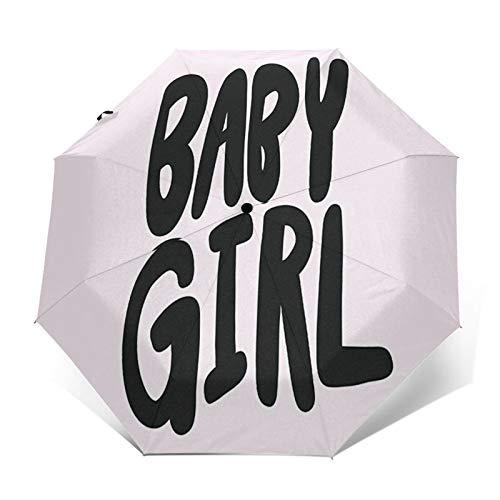 Regenschirm Taschenschirm Kompakter Falt-Regenschirm, Winddichter, Auf-Zu-Automatik, Verstärktes Dach, Ergonomischer Griff, Schirm-Tasche, Herzlichen Glückwunsch, es ist Baby Girl