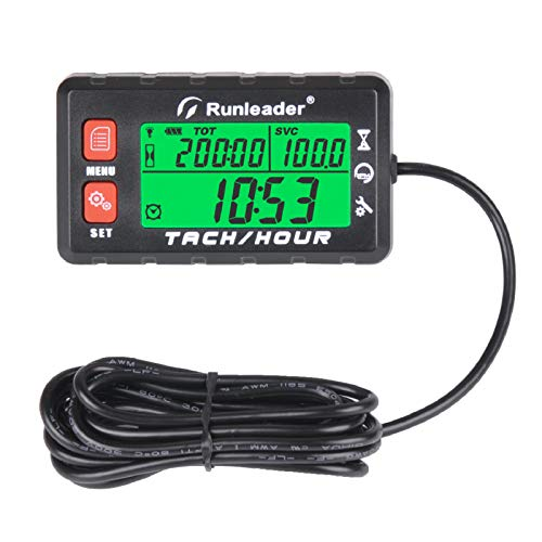 Runleader Hour Meter Tachometer, Maintenance Reminder, Alert RPM Reminder, Initial Hours Settable, Battery Replaceable , Use for Lawn Mower Generator Marine ATV and Gas Powered Equipment (HM058B-RD)