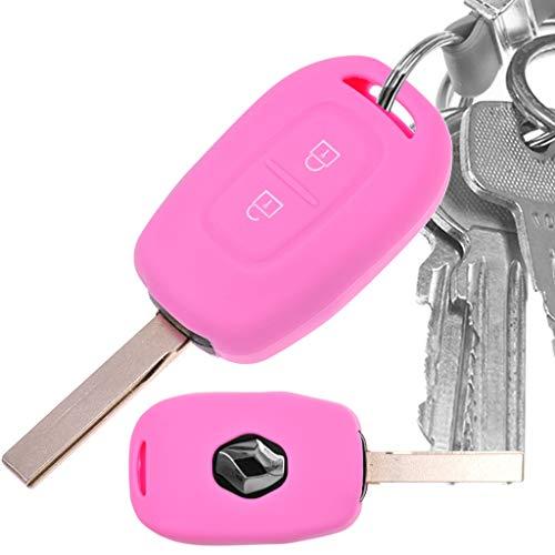 Auto Schlüssel Hülle Silikon Schutz Cover Rosa für Renault Kangoo Twingo Wind Modus Clio Fluence
