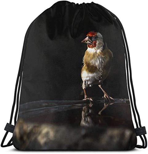 Jilguero encaramado en un Bolso con cordón para baño de pájaros Bolsa de Baile para Gimnasio Mochila para Senderismo Bolsas de Viaje en la Playa 36 x 43 cm / 14.2 x 16.9 Pulgadas