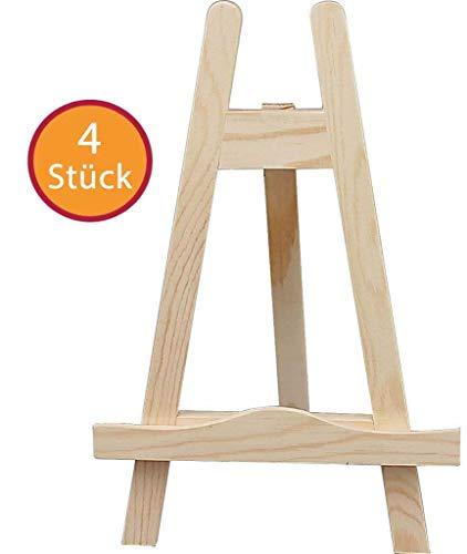 YooKreativ Tischstaffelei 4 Stück, Höhe: 25 cm, Breite: 16 cm, Mini-Staffelei aus Kiefernholz, Bildhalter, Sitzstaffelei, Deko-Ständer