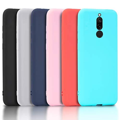 Wanxideng - 6X Funda para Xiaomi Redmi 8, Carcasa en Silicona - [ Negro + Blanco Translúcido + Rojo+ Rosado+ Menta Verde + Azul Claro ]