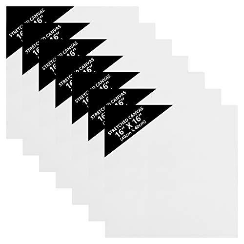 Belle Vous Czyste Płótna (7-Pak) - 40 x 40 cm - Podobrazia Płócienne, Płótno Naciągnięte na Drewnianą Ramę - Idealne do Farb Olejnych, i Akrylowych jak Również do Szkicowania i Rysowania