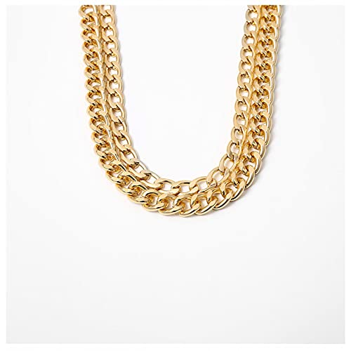 QiuYueShangMao Two Layered Punk Rock Gold Aluminium Chain Choker Necklace For Women Thick Link Collar Clavicle Statement Jewelry Light Weight friend gift birthday necklaces Anniversary necklace