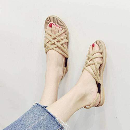 Women Sandals Sangles Croisées Sandales en Paille Soucoupe Plate Femmes Chaussures de Plage en Corde de Chanvre Plates Chaussures Romaines Cool, Buff, 37
