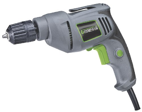 Genesis GD38B Variable Speed Reversible Electric Drill with 3/8-Inch Keyless Chuck, Belt Clip, Rubberized Grip, and Lock-On Button