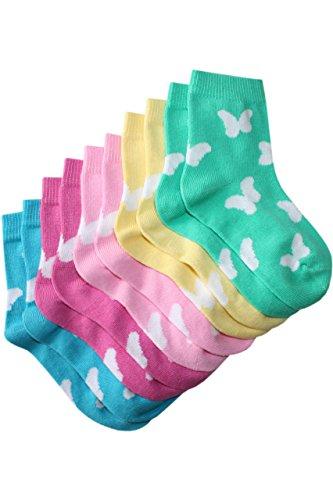 Weri Spezials 5-er Set Socken Schmetterlinge fliegen! (gelb, rosa, dunkel rosa, tuerkis, gruen), Dunkel Rosa, 27-30 (5-6 Jahre)