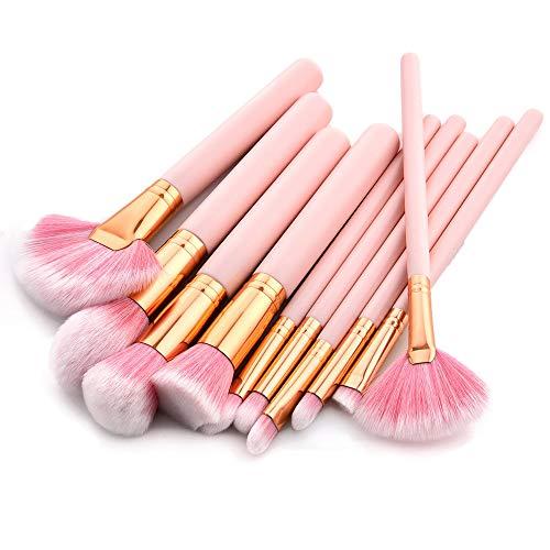 Jam Lee Lot de 10 pinceaux de maquillage kabuki avec manche en bois rose et poils en nylon doux