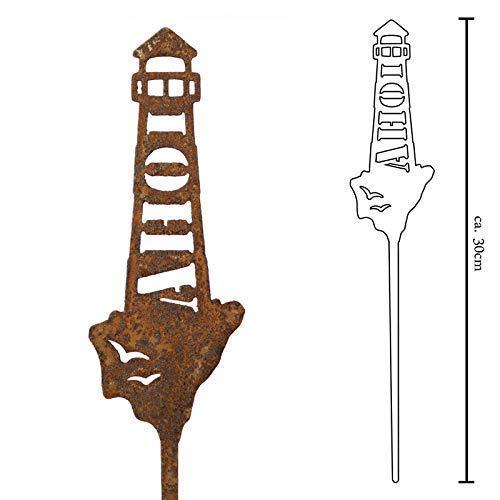 Galionsfigur Leuchtturm   Designer Blumenstecker Edelrost - Maritime Deko, Nordsee, Ostsee, Ahoi, 30cm hoch, Made in Germany