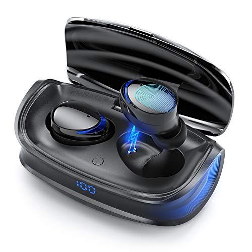 Cuffie Bluetooth Sport,LHBD Auricolari Bluetooth Senza Fill 5.0 con HiFi Stereo Bassi Sound Auricolari Prova di Sudore,25 Ore/LED display/Touch Control/2 Modalità/Auto/Type-C